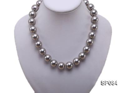 16mm shiny grey round seashell pearl necklace SP084 Image 5