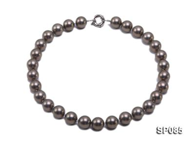 14mm dark grey round seashell pearl necklace SP085 Image 1