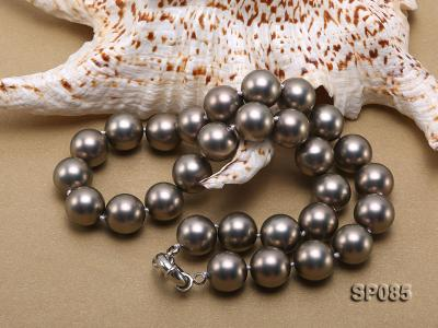 14mm dark grey round seashell pearl necklace SP085 Image 4