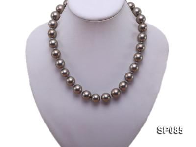 14mm dark grey round seashell pearl necklace SP085 Image 5