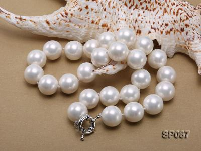 16mm white round seashell pearl necklace SP087 Image 3