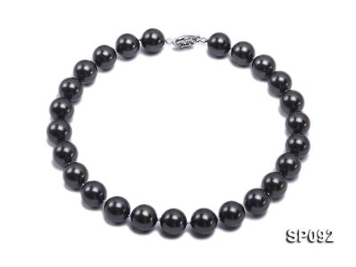 16mm radiant black round seashell pearl necklace SP092 Image 1