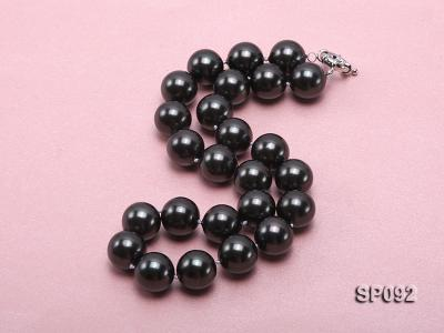 16mm radiant black round seashell pearl necklace SP092 Image 3