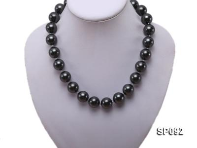 16mm radiant black round seashell pearl necklace SP092 Image 5