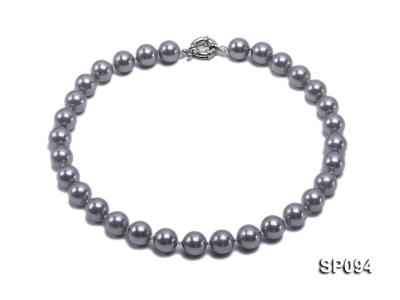 12mm grey round seashell pearl necklace SP094 Image 1