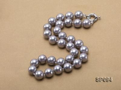 12mm grey round seashell pearl necklace SP094 Image 2