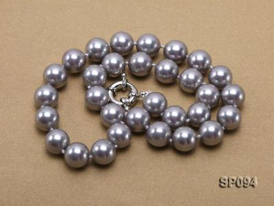 12mm grey round seashell pearl necklace SP094 Image 3
