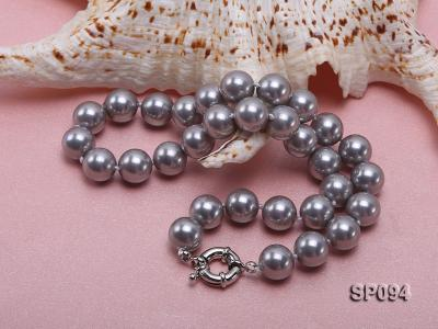 12mm grey round seashell pearl necklace SP094 Image 4