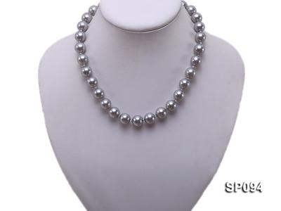 12mm grey round seashell pearl necklace SP094 Image 5