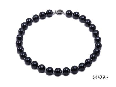 14mm black round seashell pearl necklace SP095 Image 1