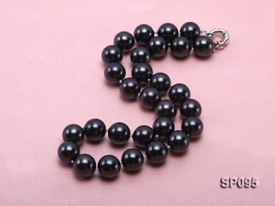 14mm black round seashell pearl necklace SP095 Image 2