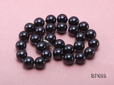 14mm black round seashell pearl necklace SP095 Image 3