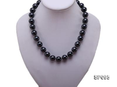14mm black round seashell pearl necklace SP095 Image 5