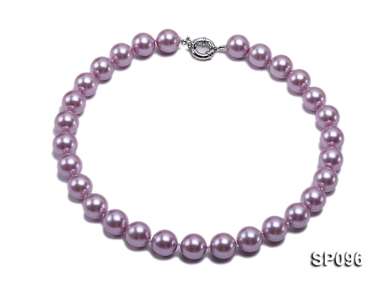 14mm lavender round seashell pearl necklace big Image 1