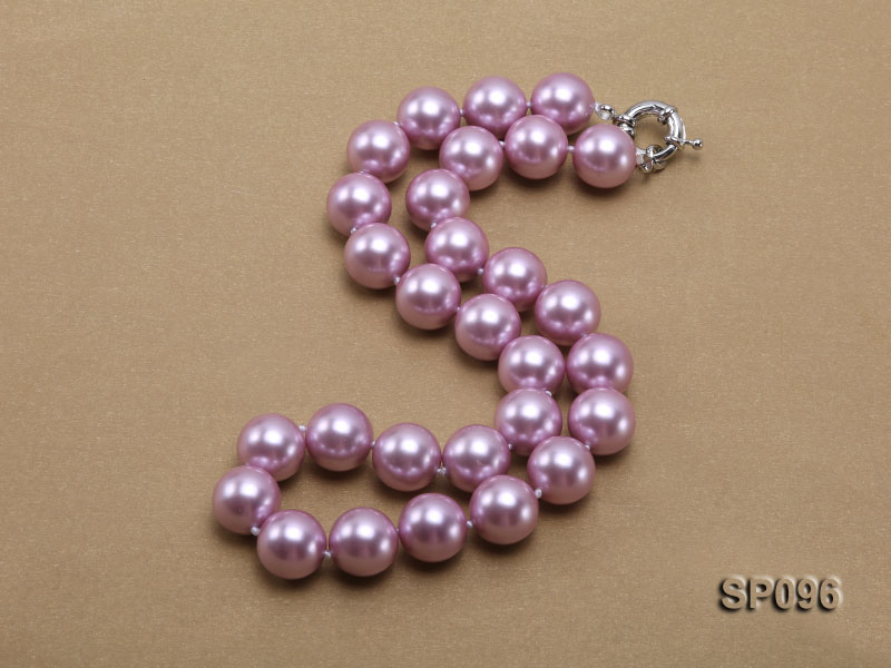14mm lavender round seashell pearl necklace big Image 2