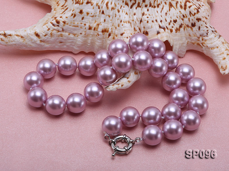 14mm lavender round seashell pearl necklace big Image 4