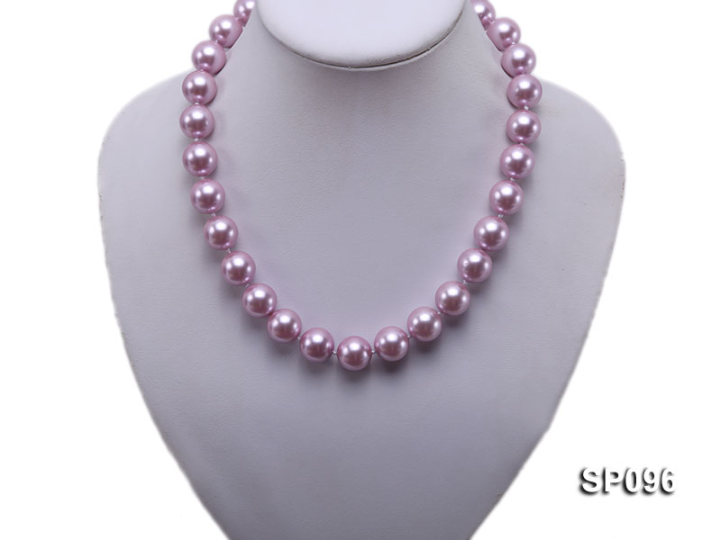 14mm lavender round seashell pearl necklace big Image 5