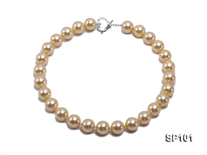 14mm golden round seashell pearl necklace big Image 1