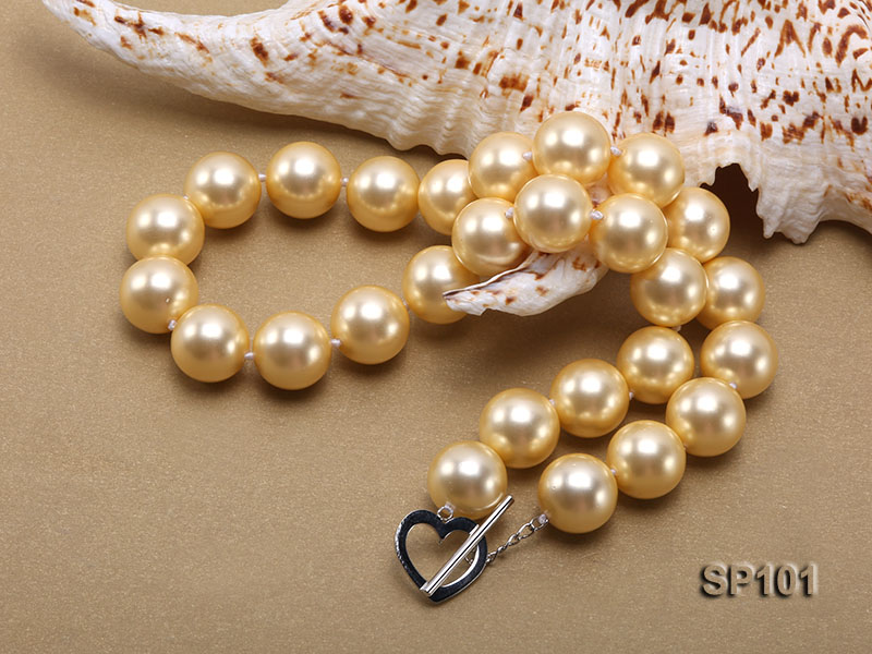 14mm golden round seashell pearl necklace big Image 2