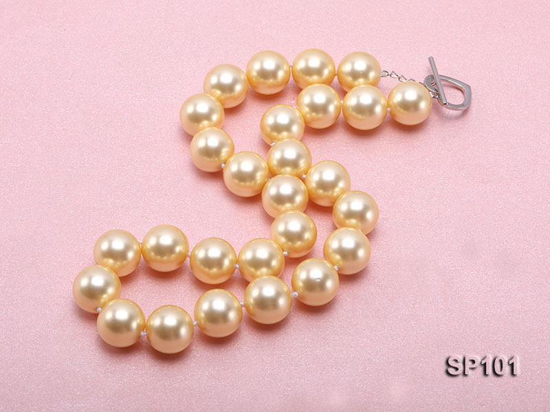 14mm golden round seashell pearl necklace big Image 3