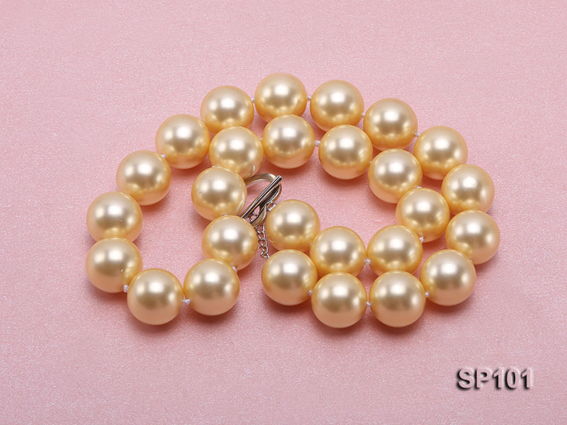 14mm golden round seashell pearl necklace big Image 4