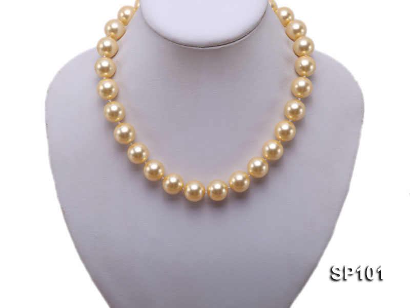 14mm golden round seashell pearl necklace big Image 5