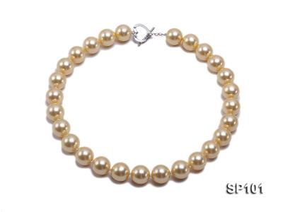 14mm golden round seashell pearl necklace SP101 Image 1