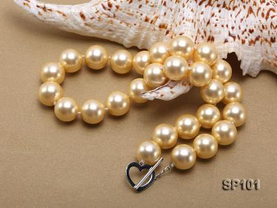 14mm golden round seashell pearl necklace SP101 Image 2