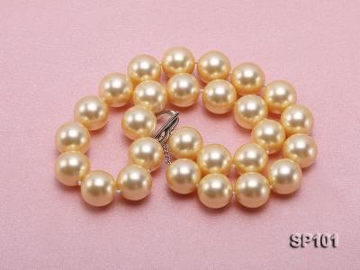 14mm golden round seashell pearl necklace SP101 Image 4