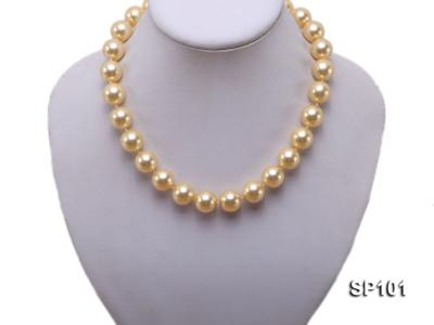 14mm golden round seashell pearl necklace SP101 Image 5