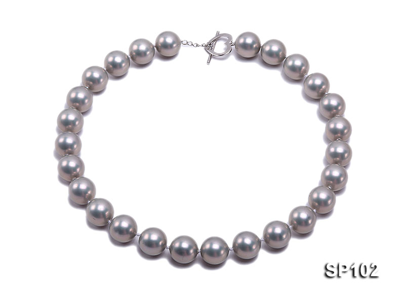 14mm grey round seashell pearl necklace big Image 1
