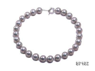 14mm grey round seashell pearl necklace SP102 Image 1