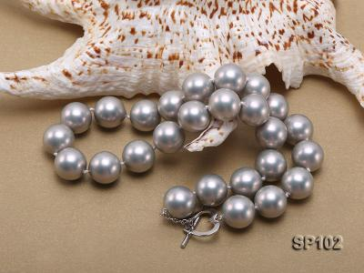 14mm grey round seashell pearl necklace SP102 Image 4