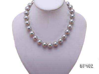 14mm grey round seashell pearl necklace SP102 Image 5