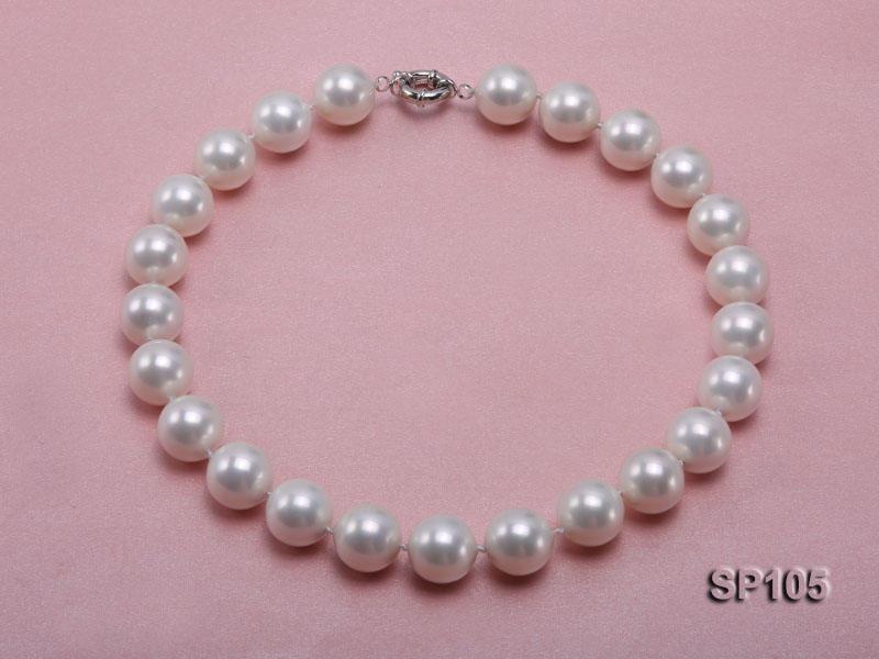 16mm white round seashell pearl necklace with sterling silver clasp big Image 3