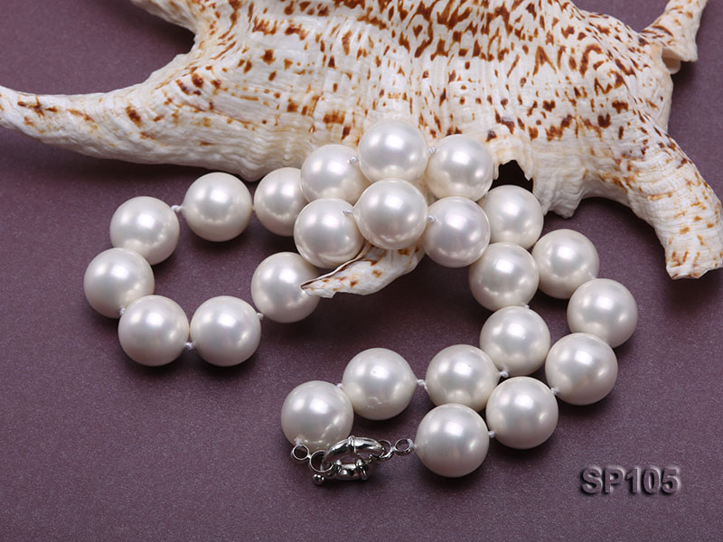 16mm white round seashell pearl necklace with sterling silver clasp big Image 6