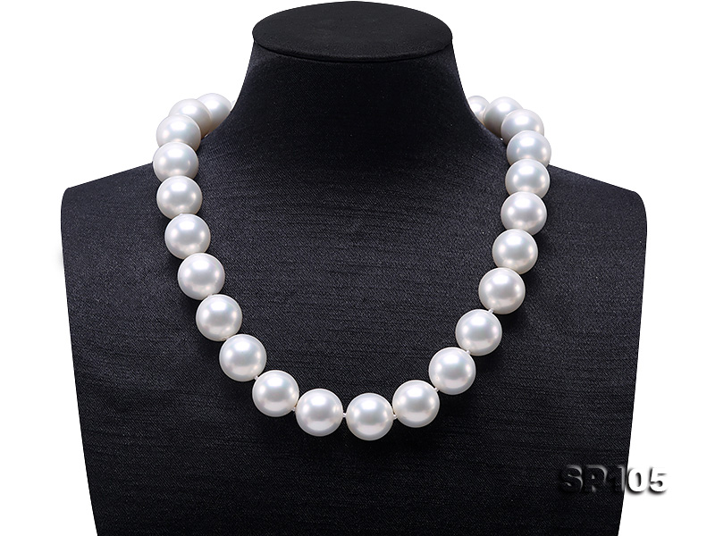 16mm white round seashell pearl necklace with sterling silver clasp big Image 1