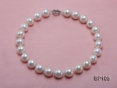 16mm white round seashell pearl necklace with sterling silver clasp SP105 Image 3