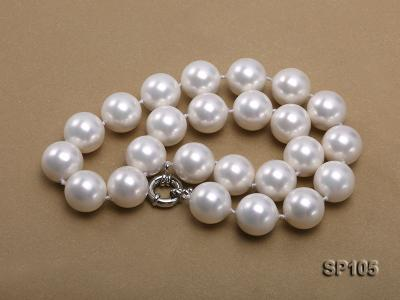 16mm white round seashell pearl necklace with sterling silver clasp SP105 Image 5