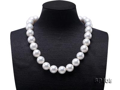 16mm white round seashell pearl necklace with sterling silver clasp SP105 Image 1