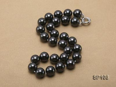 14mm black round seashell pearl necklace SP108 Image 2