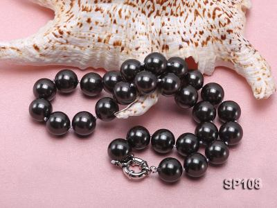 14mm black round seashell pearl necklace SP108 Image 4