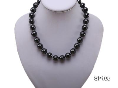 14mm black round seashell pearl necklace SP108 Image 5