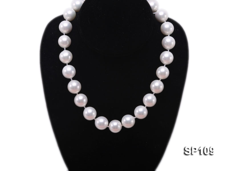 16mm white round seashell pearl necklace big Image 5