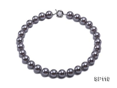 14mm dark grey round seashell pearl necklace SP110 Image 1