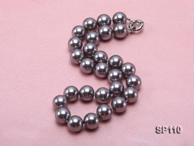 14mm dark grey round seashell pearl necklace SP110 Image 2