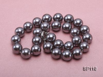 14mm dark grey round seashell pearl necklace SP110 Image 3