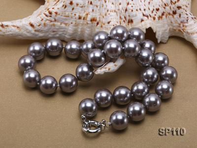 14mm dark grey round seashell pearl necklace SP110 Image 4