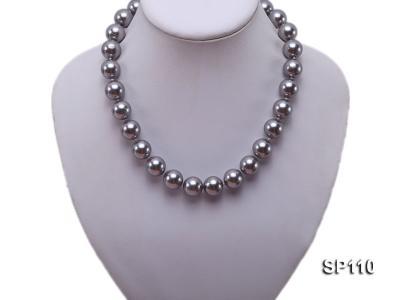 14mm dark grey round seashell pearl necklace SP110 Image 5