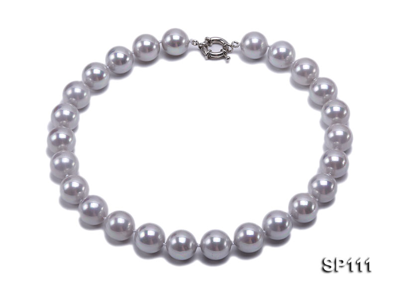 16mm grey round seashell pearl necklace big Image 1